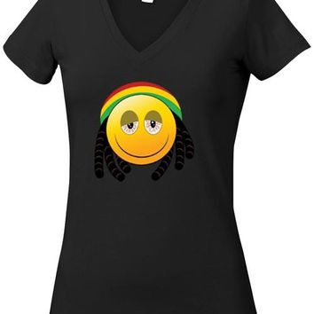 Juniors V-Neck T Shirt African Happy Face w/Braids