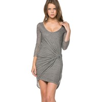 Twisted Asymmetrical Mini Dress with Long Sleeves in Gray