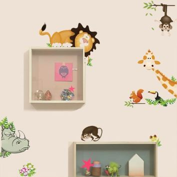 Jungle Wild animals get in your room hide and seek wall stickers for kids room PVC decals home decor Removable wall stickers