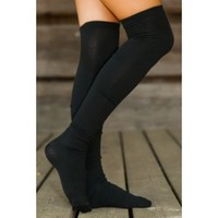 Settle In Boot Socks-Black
