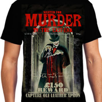 Rock Rebel Clothing - Killers Never Die Ole Leather Apron Jack The Ripper Serial Killer Whitechapel London 1888 Horror Mens Short Sleeve T-Shirt in Black - UP TO XXXL / 3XL