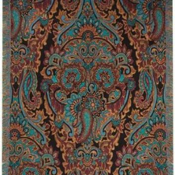 "Ariana Bali Turquoise and Orange Paisley Henna Tapestry Throw Blanket 50"" x 60"""