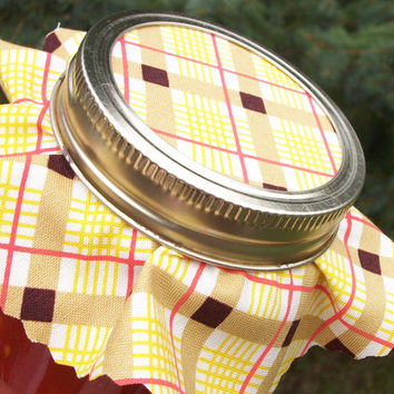 12 Fall Plaid Jam Covers, Yellow Orange Cloth Toppers, fabric for mason jars, food preservation, favors and gifts