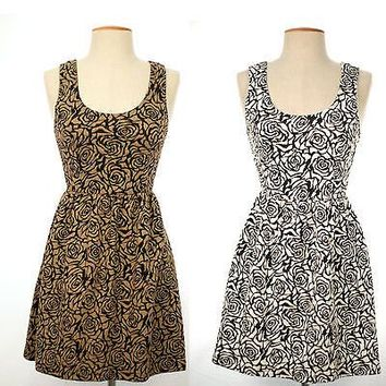 Floral Print Sleeveless A-Line Flare Shift Dress Deep Open Back Elastic Band