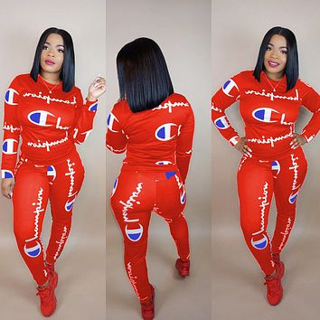 Champion Fashionable Women Casual Print Top Pants Trousers Set Two-Piece Red