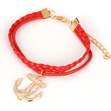 Colorful Anchor Bracelet - Red