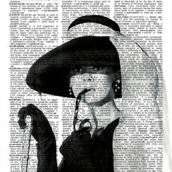 Audrey Hepburn Poster , Audrey Hepburn Art Print, Print on Dictionary Paper,Wall Decor, Hollywood,Dictionary Art Print, Poster,Black & White