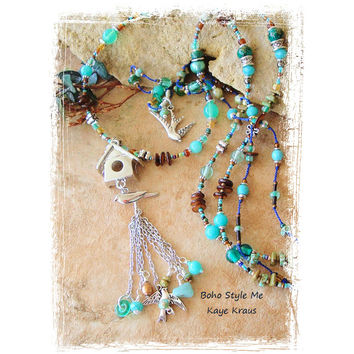 Bohemian Jewelry, Bird Lover, Beaded Turquoise and Brown Layered Necklace, Bird House and Birds, Hand Knotted, Boho Style Me, Kaye Kraus