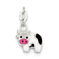Sterling Silver Enameled Cow Charm QC6234