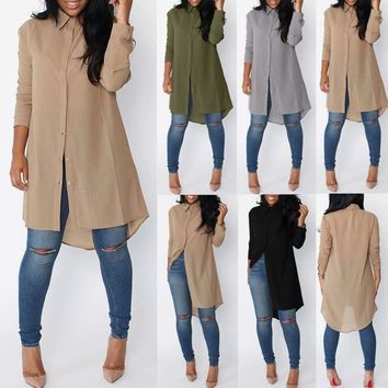 Women Fashion Long Sleeve Chiffon Tunic