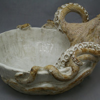 Large Hand made Ceramic Octopus Vessel Sink by Shayne Greco Beautiful Mediterranean Pottery