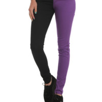 Royal Bones Purple And Black Split Leg Skinny Jeans