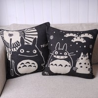 Pair of Black Totoro Series Burlap Cushion Cover Decorative Pillows Cover 18""