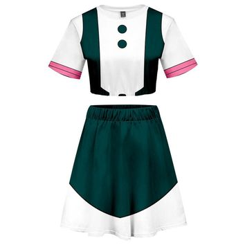 My Hero Academia 2 Pieces Ochaco Uraraka Outfits for Women Short Sleeves Crop Top + A Line Skirt Sets