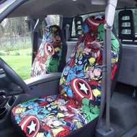 1 Set Of Marvel Comic Print Car Seat Covers And Piece Steering Wheel Cover Custom
