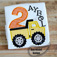 Dump Truck Birthday Applique shirt - Customizable -  Infant to Youth
