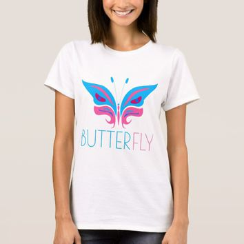 Blue And Pink Butterfly elegant T-Shirt