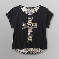 Almost Famous- -Junior's Lace Back T-Shirt - Cross-Clothing-Juniors-Tops