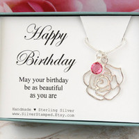 Happy Birthday gift for best friend birthstone necklace, sterling silver flower necklace, gift for women,  friend, sister, goddaughter, mom