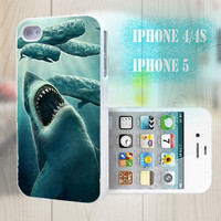 unique iphone case, i phone 4 4s 5 case,cool cute iphone4 iphone4s 5 case,stylish plastic rubber cases cover, green shark whale animal  p991