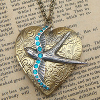 Steampunk Swallow Locket Necklace Vintage Style by sallydesign