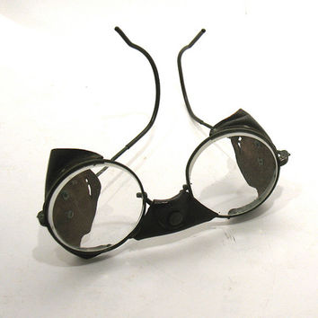 Vintage Safety Glasses - Steampunk Glasses-Motorcycle/Aviator Glasses -American Optical (AO) Leather Bridge/Side Shields- Clear Glass Lenses