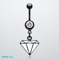 Blackline Urban White Diamond Belly Button Ring