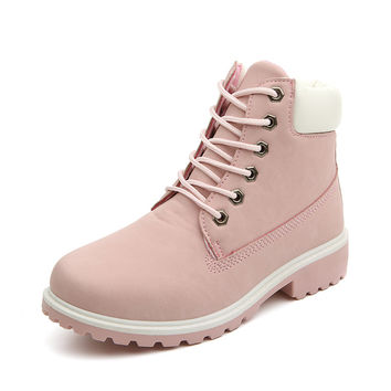 New Pink Nubuck Leather Women Boots Lace up Solid Casual Ankle Boots Martin Round Toe Women Shoes size 36-41