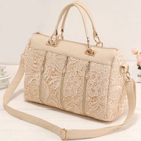 Nice Retro Lace Handbag & Shoulder Bag-pink