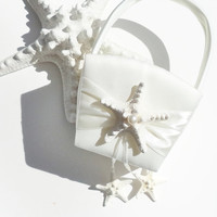 Whte or Ivory Starfish Flower Girl Basket / Wedding Accessory /  Beach Wedding