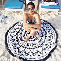 1Pc Beach Towel Floral Indian Tapestry Wall Hanging Mandala Throw Hippie Bedspread Gypsy Blanket Home Decor Round Boho Yoga Mat