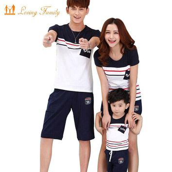 Family Look  Summer Family clothing Mother Daughter Dress Family Matching Outfits Cotton Father Son T-shirt and pant