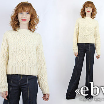 Vintage Cream Cable Knit Sweater Vintage Sweater Chunky Knit Chunky Sweater Cropped Sweater Cropped Knit Fisherman Sweater Wool Sweater