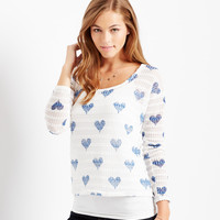 Aeropostale  Womens Long Sleeve Sheer Hearts Sweater