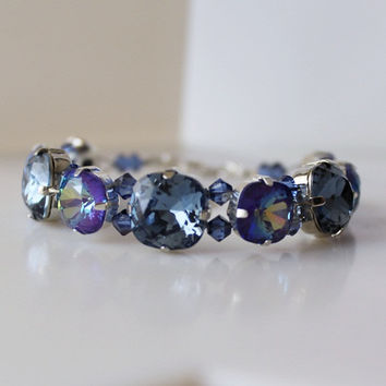 Ultra Purple Violet Blue Tennis Bracelet... Purple Blue Rhinestone, Swarovski Crystal Bracelet Square