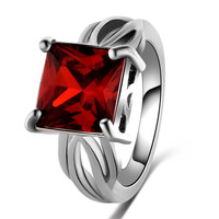 Ruby Emerald Cut Crystal Zircon Ring