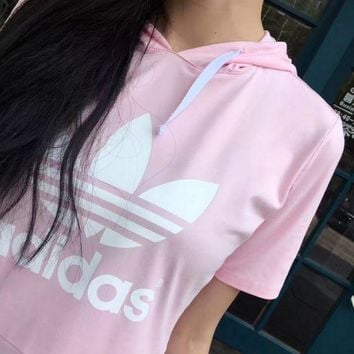 DCCKBA7 Adidas Women's Hooded Pink/Black Pullover Dress