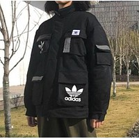 Adidas Winter Trending Women Men Stylish 3M Reflective Stripe Cardigan Jacket Cotton Coat