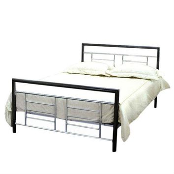 Full Size Metal Platform Bed Frame with Headboard & Footboard in Black Silver