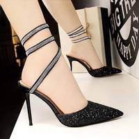 Woman's Elegant Pointed Toe Casual High Heel Sequined Pumps With Sparkly Lace Up Hug Me Ankle Straps