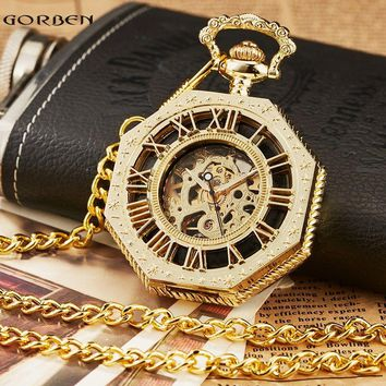 Retro Unique Octagon Roman Numeral Steampunk Pocket Watch with FOB Chain Full Steel Mechanical Hand-winding Reloj de bolsillo