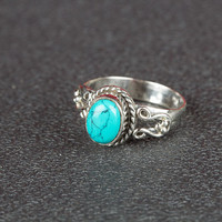 Turquoise Ring, 925 Sterling Silver Ring, December Birthstone Ring, Statement Ring,  Nickel Free Ring, Gypsy Ring, Gift For Her,