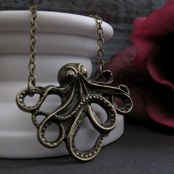 Long Necklace Octopus, Antique Gold Brass, Nautical Pendant Octopus Necklace - TENTACLES