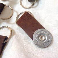 Ammo Shotgun Shell Leather Keychain fob - genuine leather with metal keyring - riveted 12 gauge ammo key chain