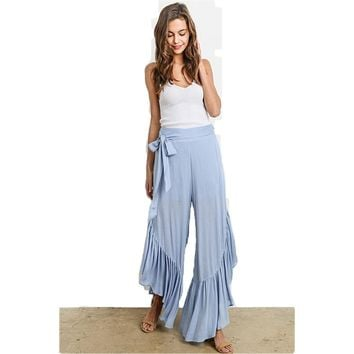 Dusty Blue Ruffle Pants