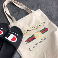 Gucci Canvas Shopping Shoulder Bag