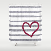 Red Heart on Shiny Silver Stripes Shower Curtain by Psychae