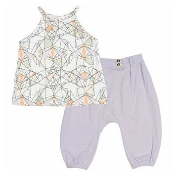 Kardashian Kids Girls 2 Piece White/Lavender Playwear Set with Abstract Print Tank Top and Solid Harem Pant