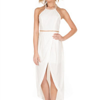 In This Moment Embellished Halter Dress - White