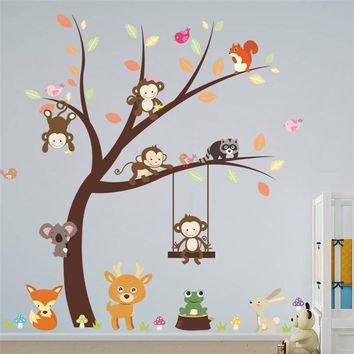 Kids Forest Animals Monkey Bird Tree Rooms Wall Sticker